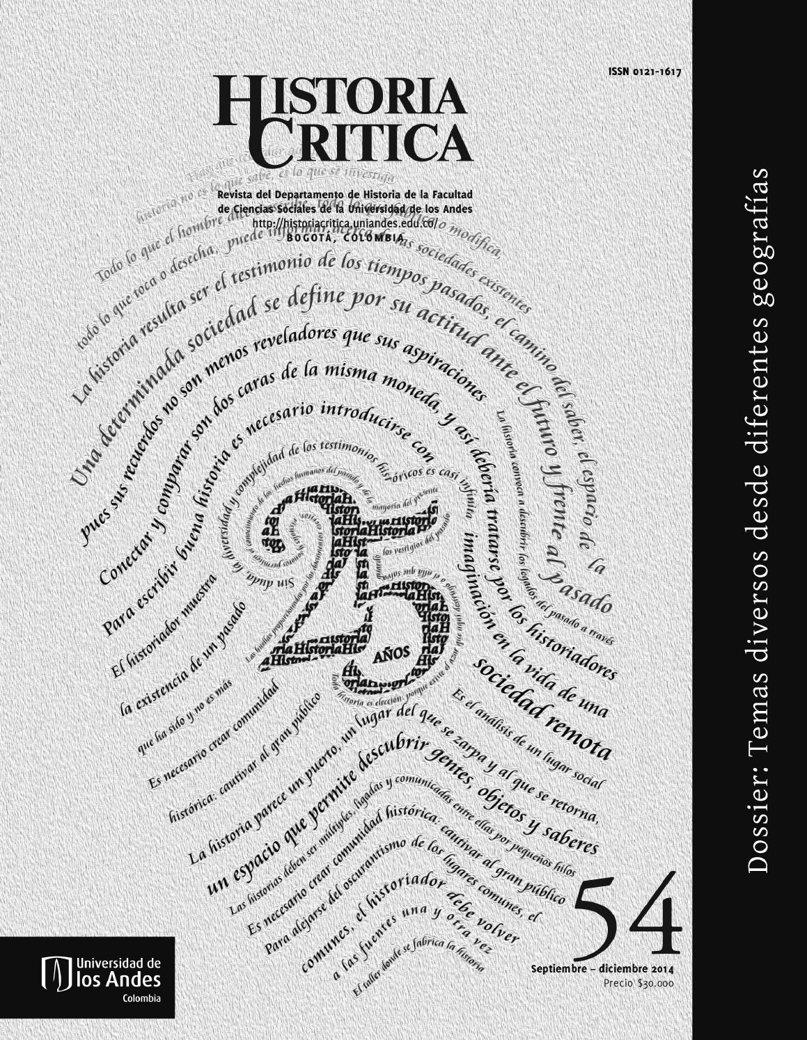 Historia Crítica No. 54 by Publicaciones Faciso - issuu
