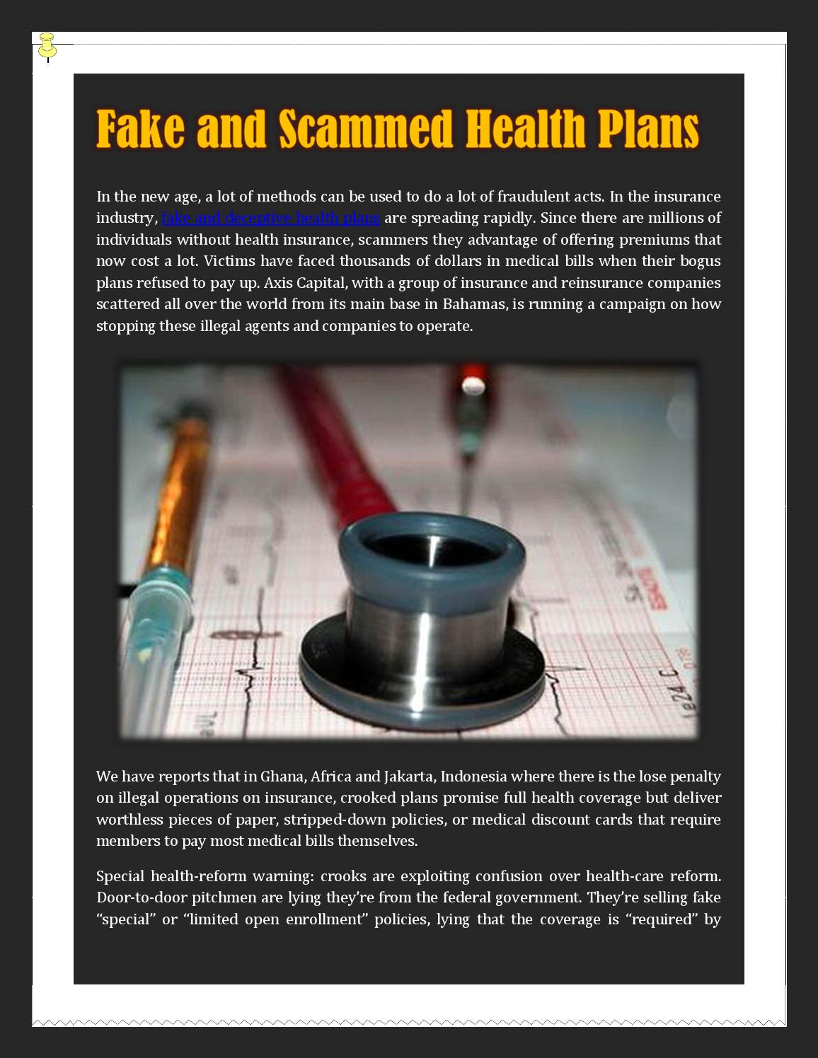 Fake and Scammed Health Plans by Ophelia Gousse - issuu