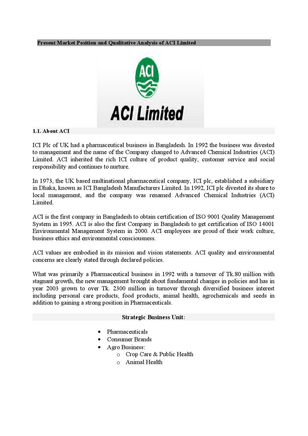 Present market position and qualitative analysis of aci limited by present market position and qualitative analysis of aci limited by md papon issuu xflitez Images