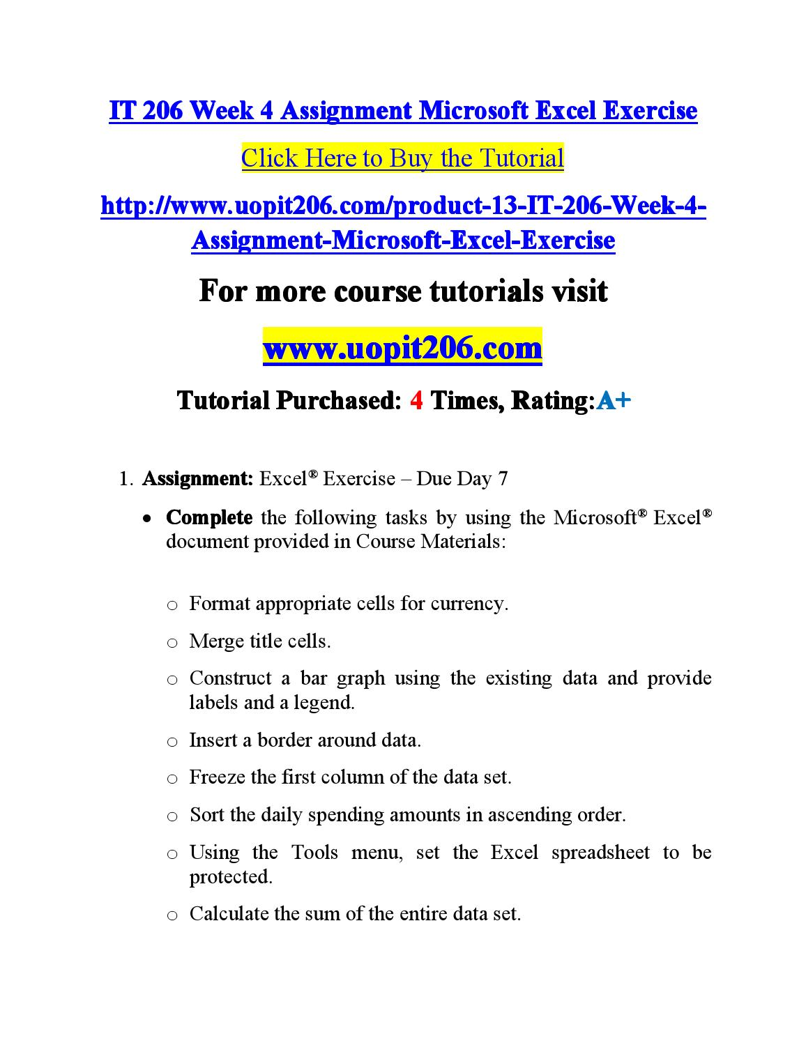 It 206 week 4 assignment microsoft / it206dotcom by