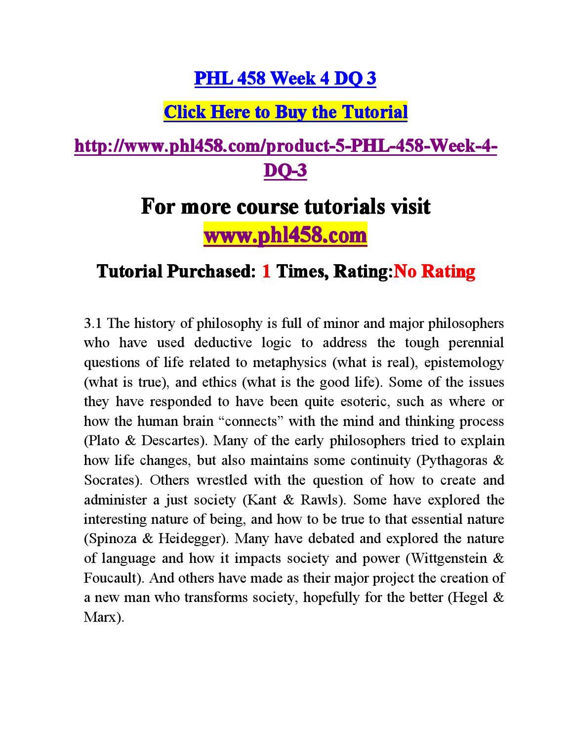 phl458 week 1 Tutorialrank is a online tutorial store we provides phl 458 week 1 dq 1 uop course.