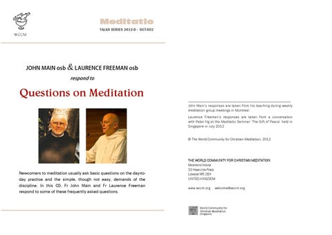 2012D Questions On Meditation With John Main And Laurence Freeman By