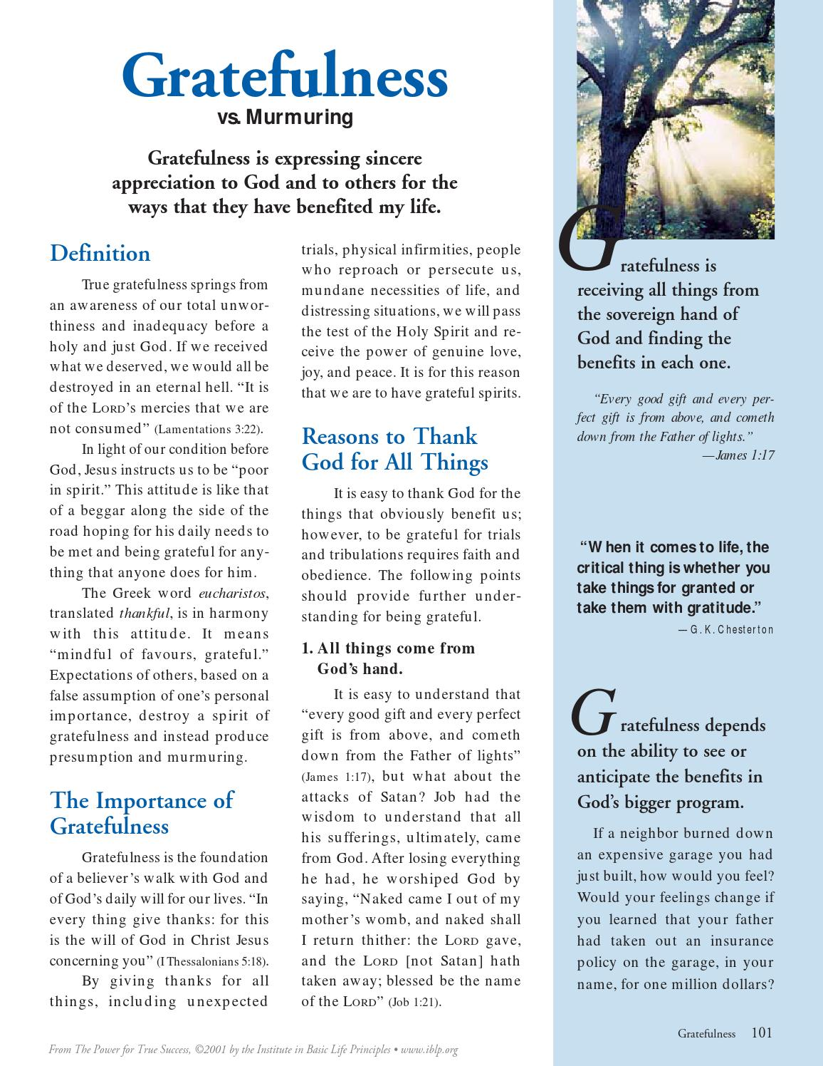 Gratefulness by Institute in Basic Life Principles - issuu