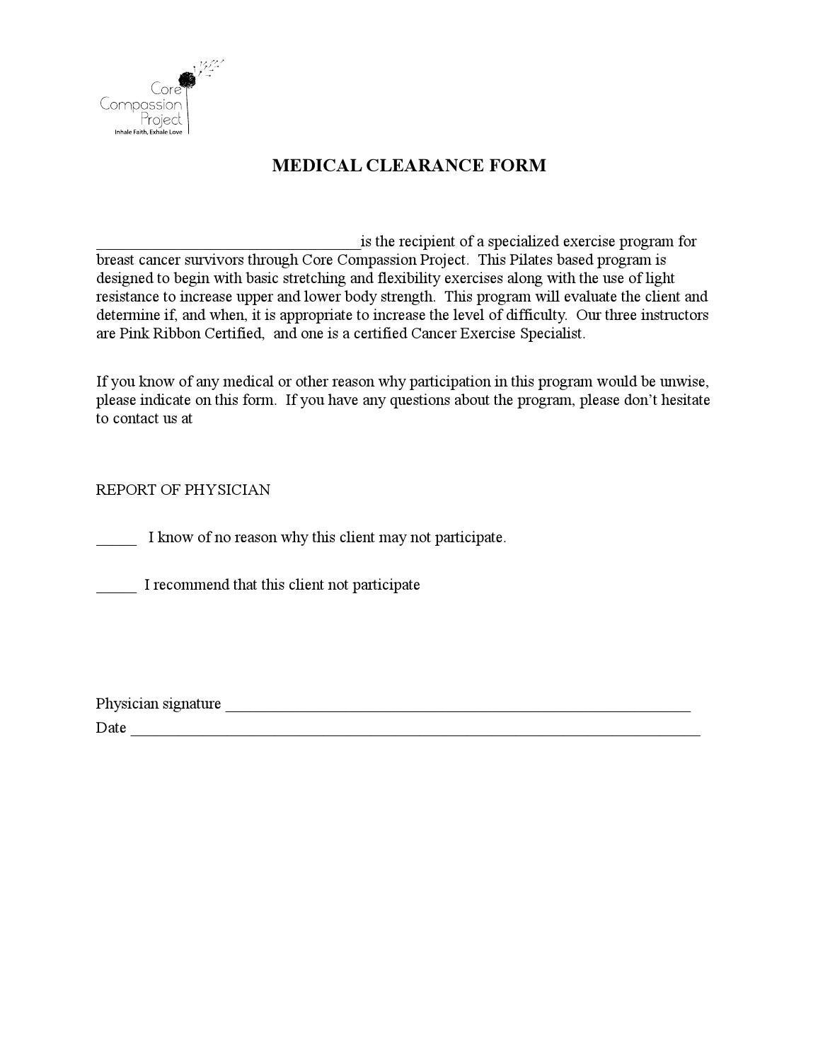 Medical clearance form by Core Compassion Project issuu – Medical Clearance Form