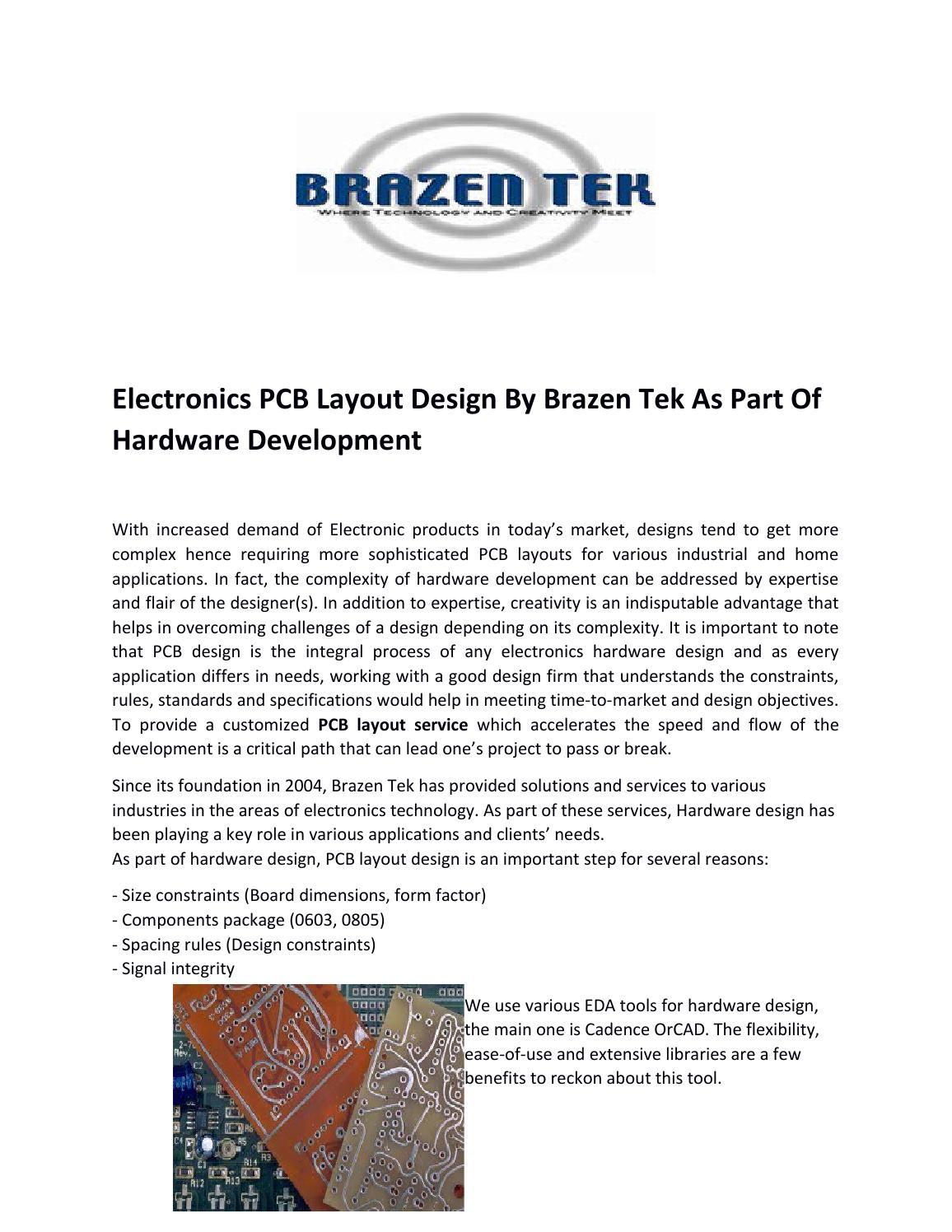 Electronics PCB Layout Design By Brazen Tek As Part Of