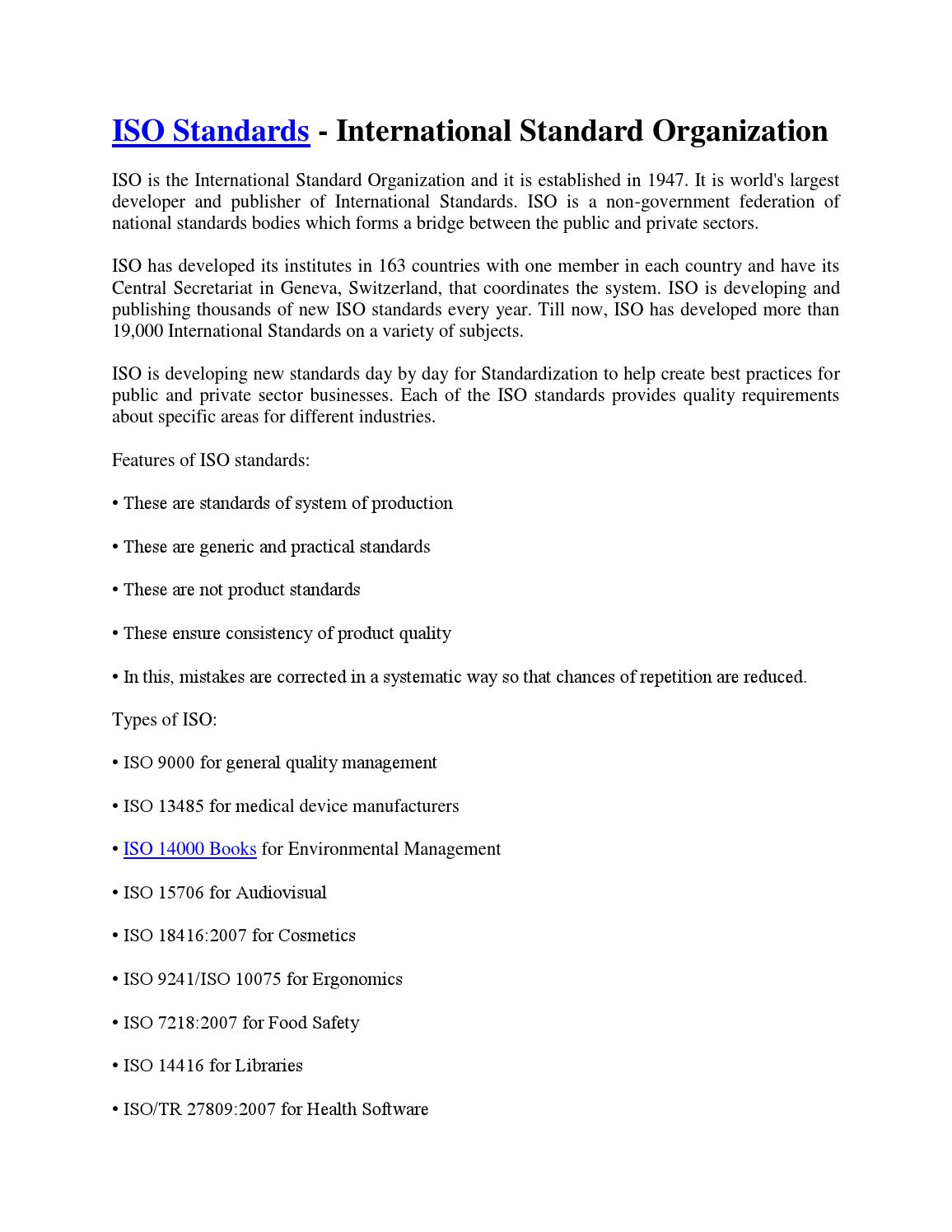 Iso Standards International Standard Organization By