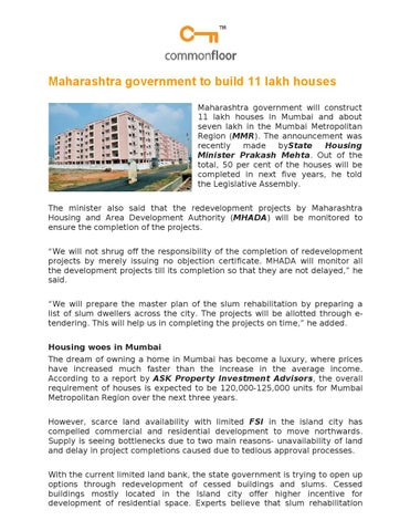 Maharashtra government to build 11 lakh houses