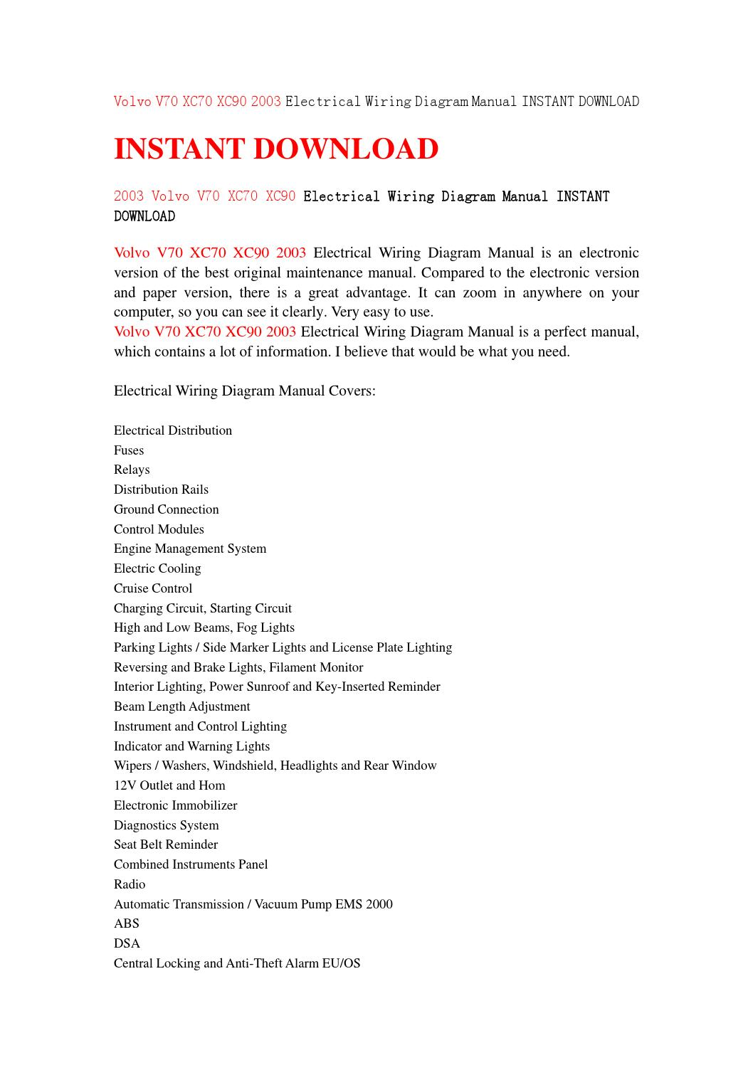 Volvo V70 Xc70 Xc90 2003 Electrical Wiring Diagram Manual Instant Download By Jfhsjefjsne