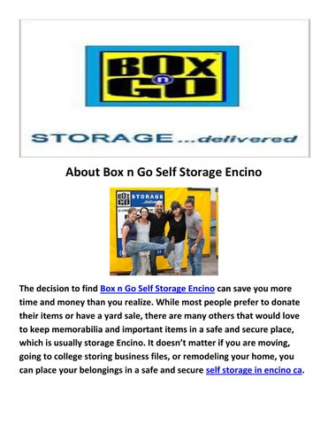 About Box N Go Self Storage Encino
