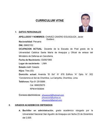 Curriculum Vitae De Javier Chavez By Javier Gustavo Issuu