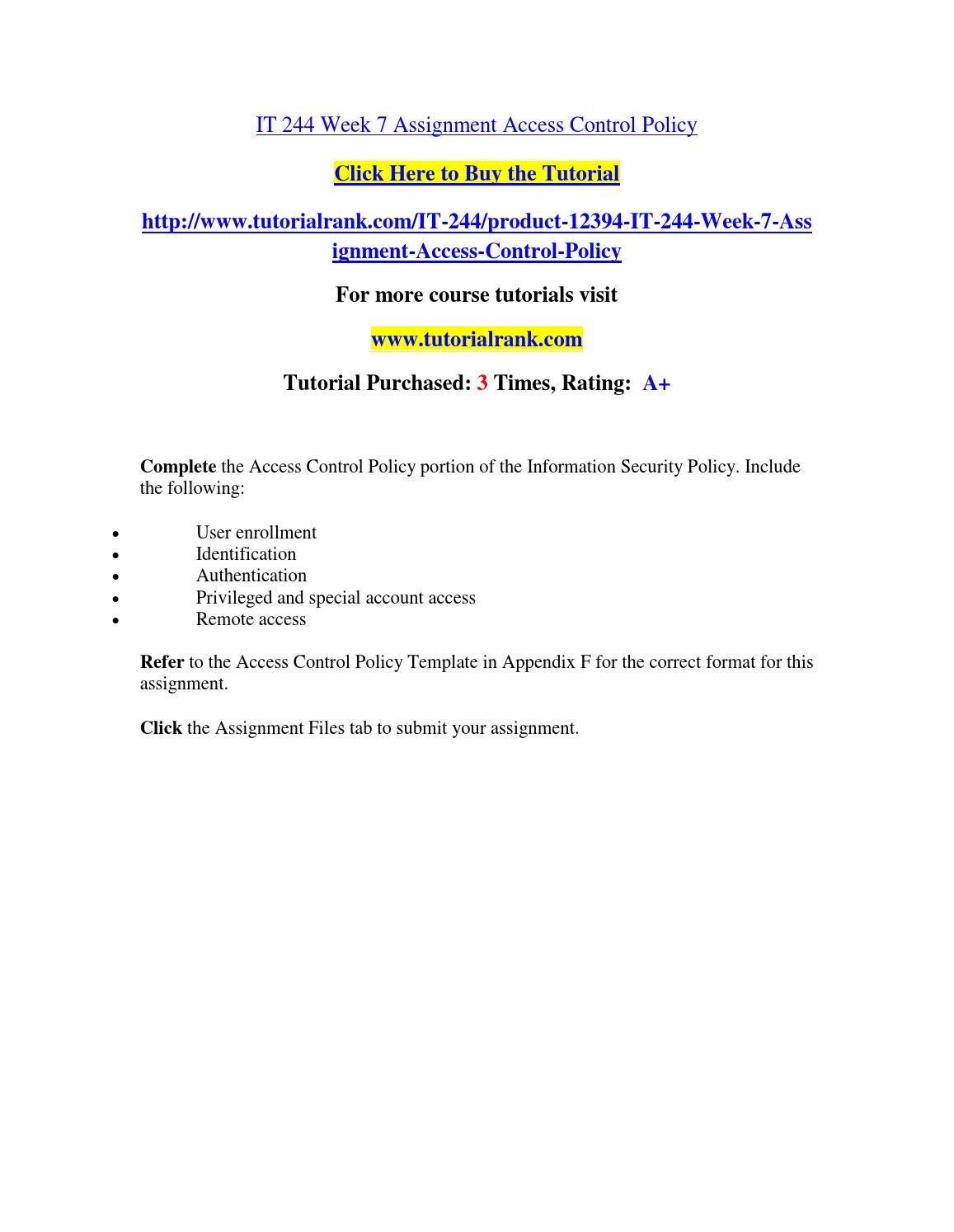 it 244 week 7 assignment access control policy by zoeisaac31 issuu
