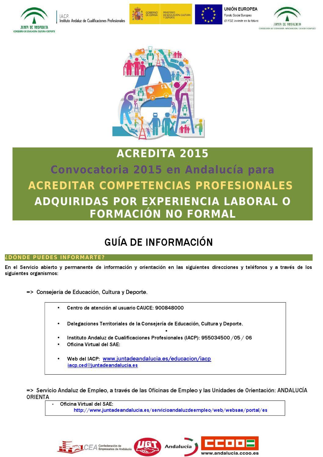 Gu a certificado de competencias profesionales by for Oficina de empleo andalucia