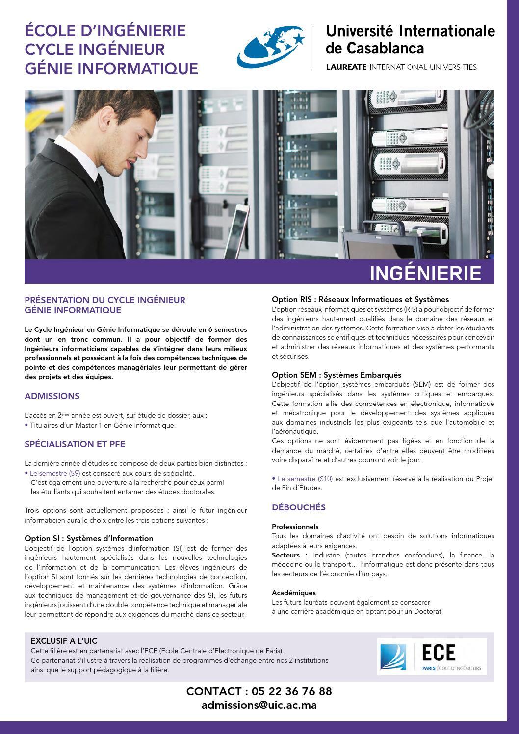 b022e9e1c9b Uic fiche ing génie informatique by Université Internationale de Casablanca  - issuu