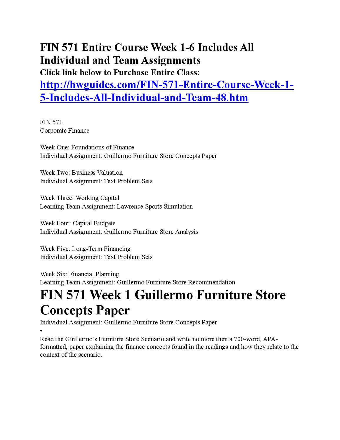 financial concepts in guillermo furniture store Professionally written papers on this topic: the guillermo furniture store flexible budget this 3 page paper is based ion a case study supplied by the student with the need for a flexible budget to be produced.