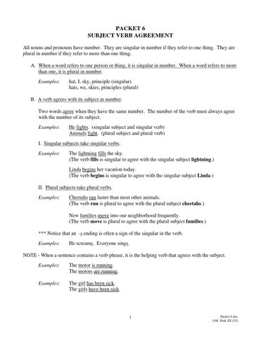 Packet6 Subject Verb Agreement By Hostoswc Issuu