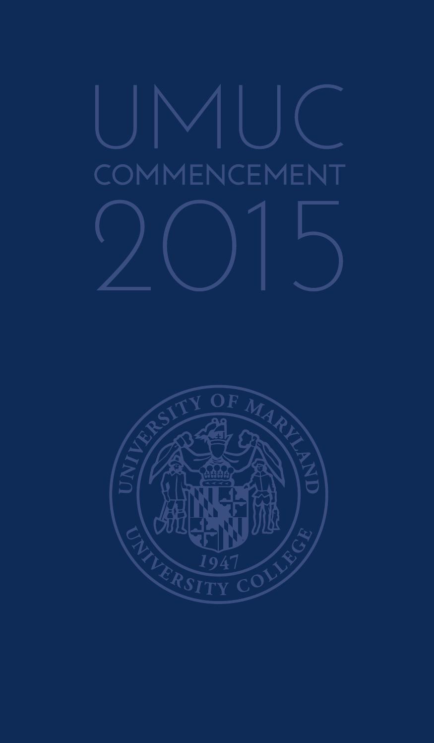 UMUC Commencement Program, 2015 by University of Maryland University ...