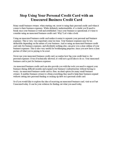 Stop using your personal credit card with an unsecured business stop using your personal credit card with an unsecured business credit card many small business owners when starting out resort to using their personal colourmoves