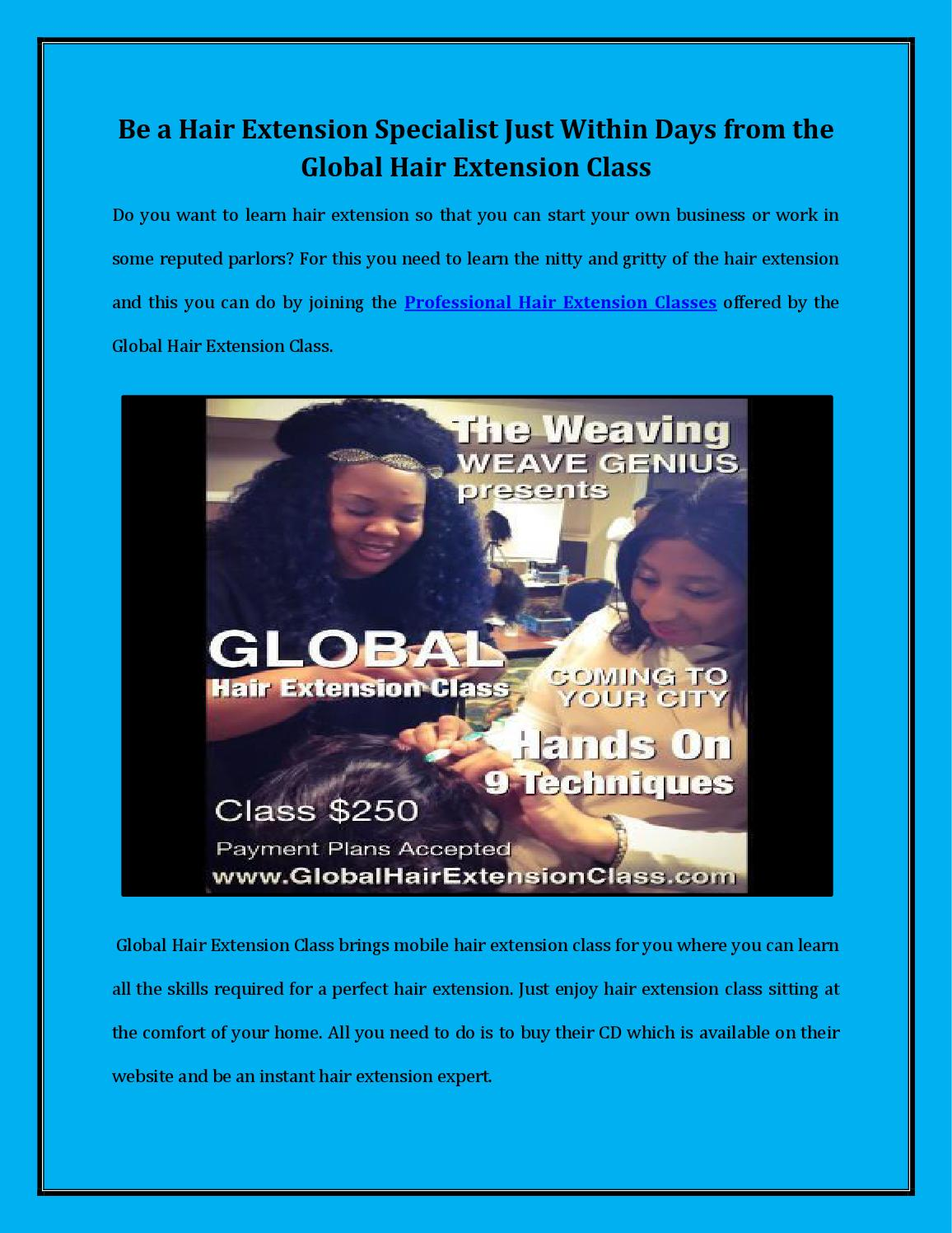 Be A Hair Extension Specialist Just Within Days From The Global Hair