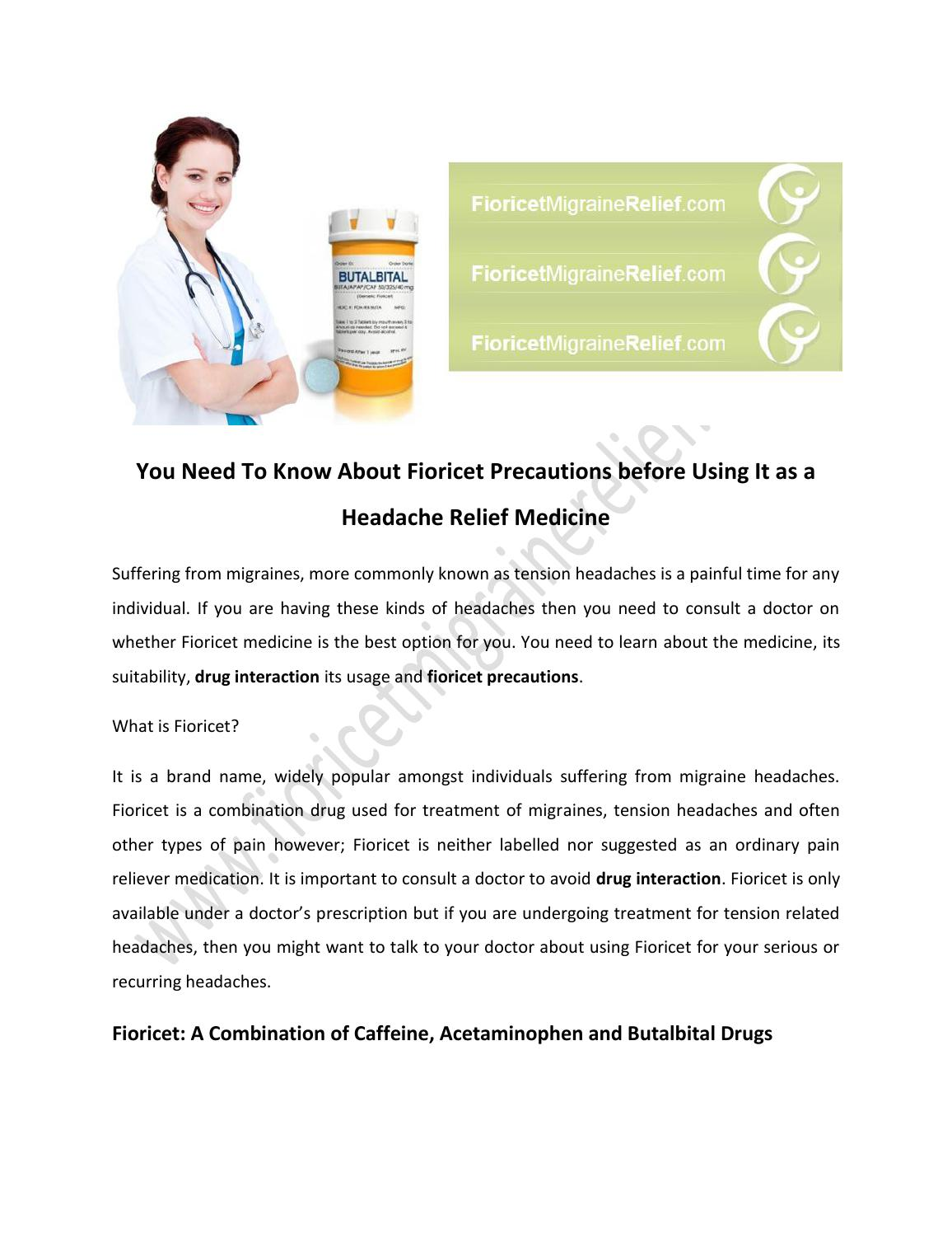 You Need To Know About Fioricet Precautions before Using It