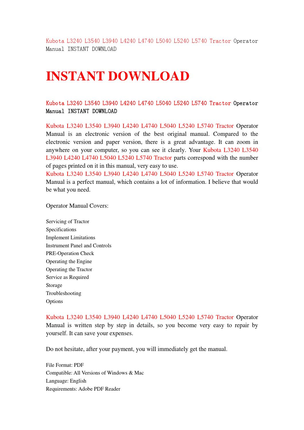 Kubota l3240 l3540 l3940 l4240 l4740 l5040 l5240 l5740 tractor operator  manual instant download by jsnehfbse - issuu
