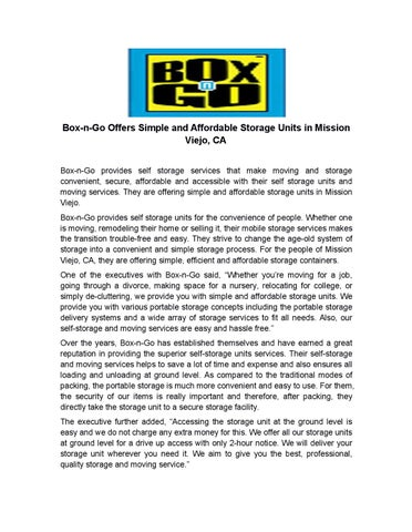 Box N Go Offers Simple And Affordable Storage Units In Mission Viejo, CA  Box N Go Provides Self Storage Services That Make Moving And Storage  Convenient, ...