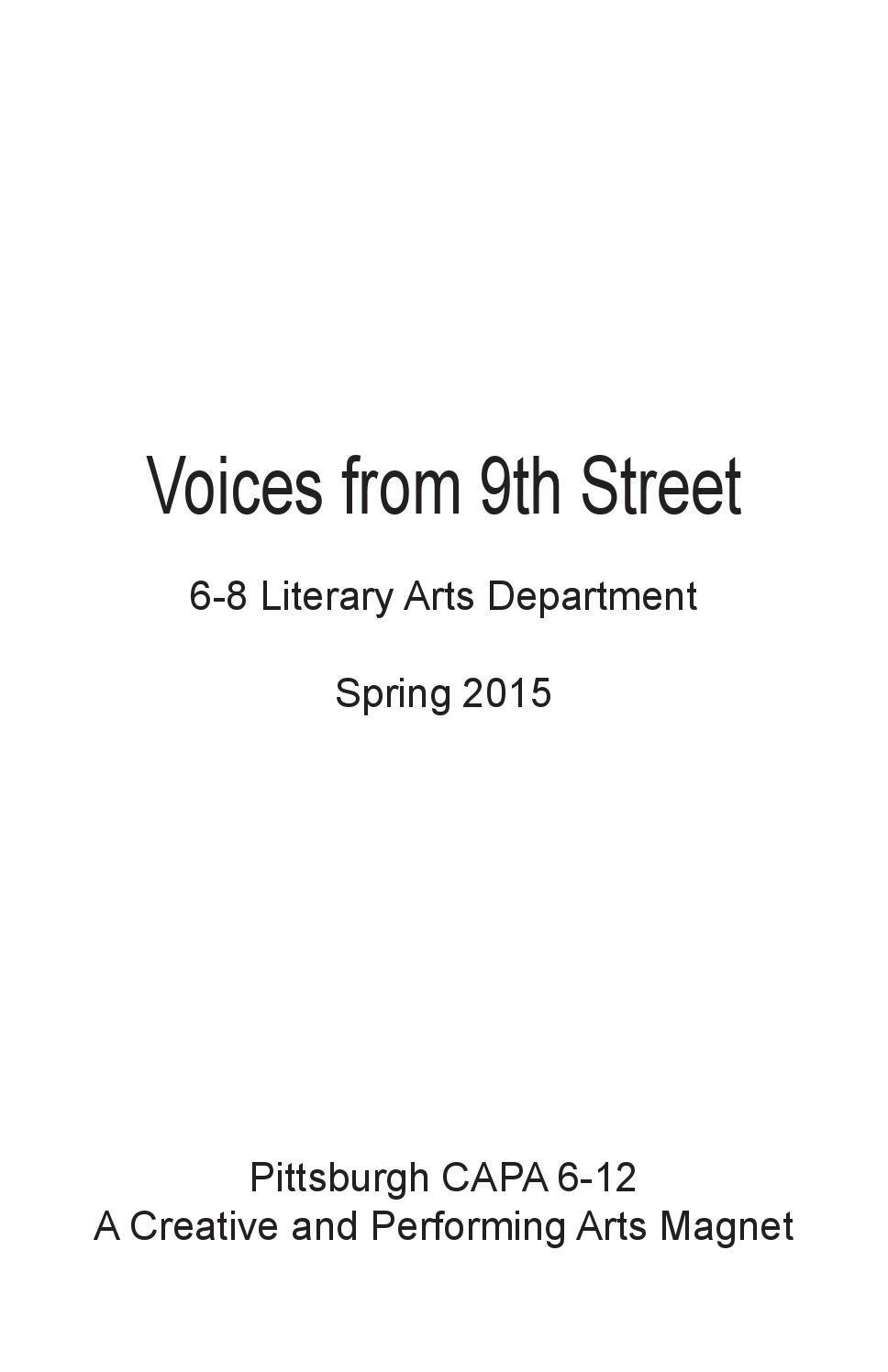 Voices from 9th Street: 6-8 Literary Arts by Mara Cregan - issuu