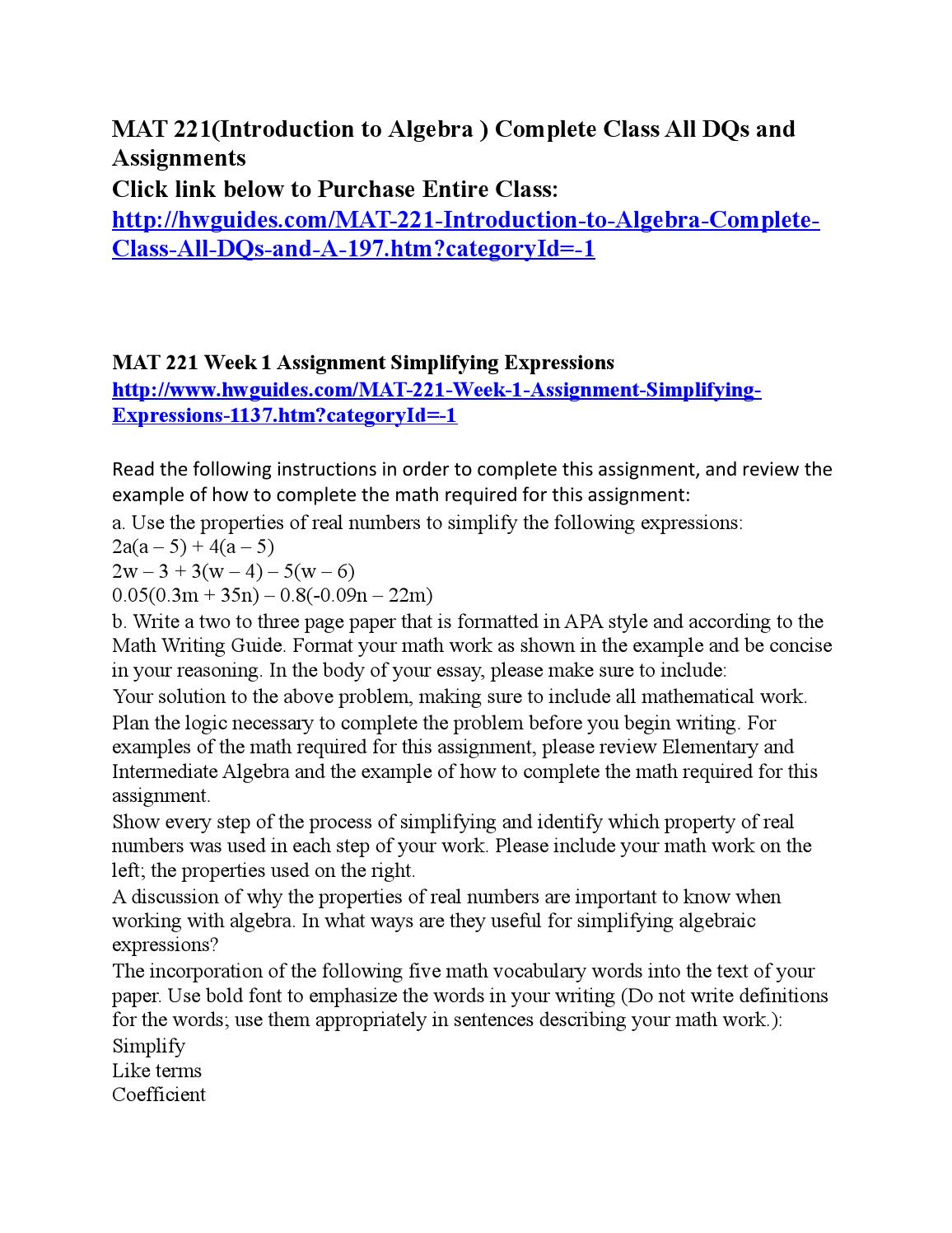 mat 221 week 1 assignment simplifying expressions Unit 1 test unit 2: solving linear equations lesson 01: solving one-step   assignment: in the following examples, perform the arithmetic operations in the   notice that when we say lb per week, we can also write it as lb/week   page 221.