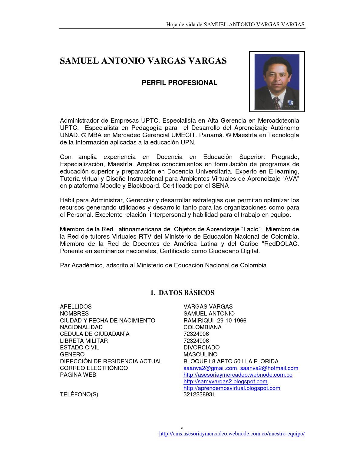 Hoja de vida samuel vargas actualizada by saanva2 - issuu