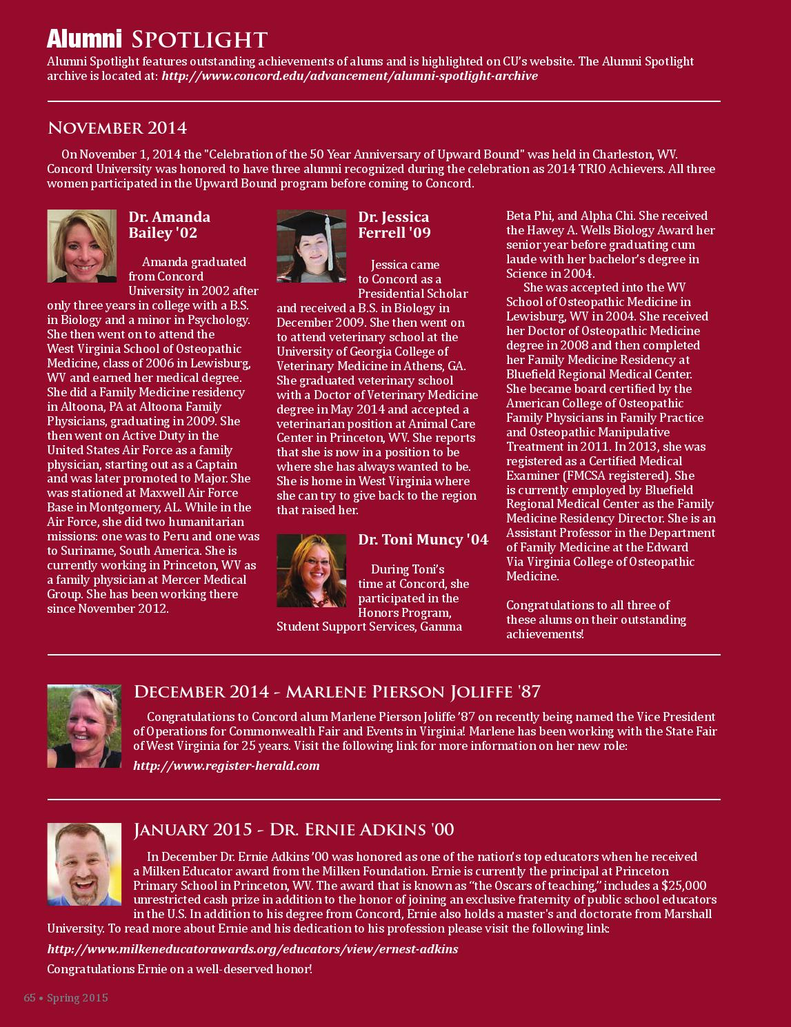 Concord University Spring 2015 Alumni Magazine by Concord