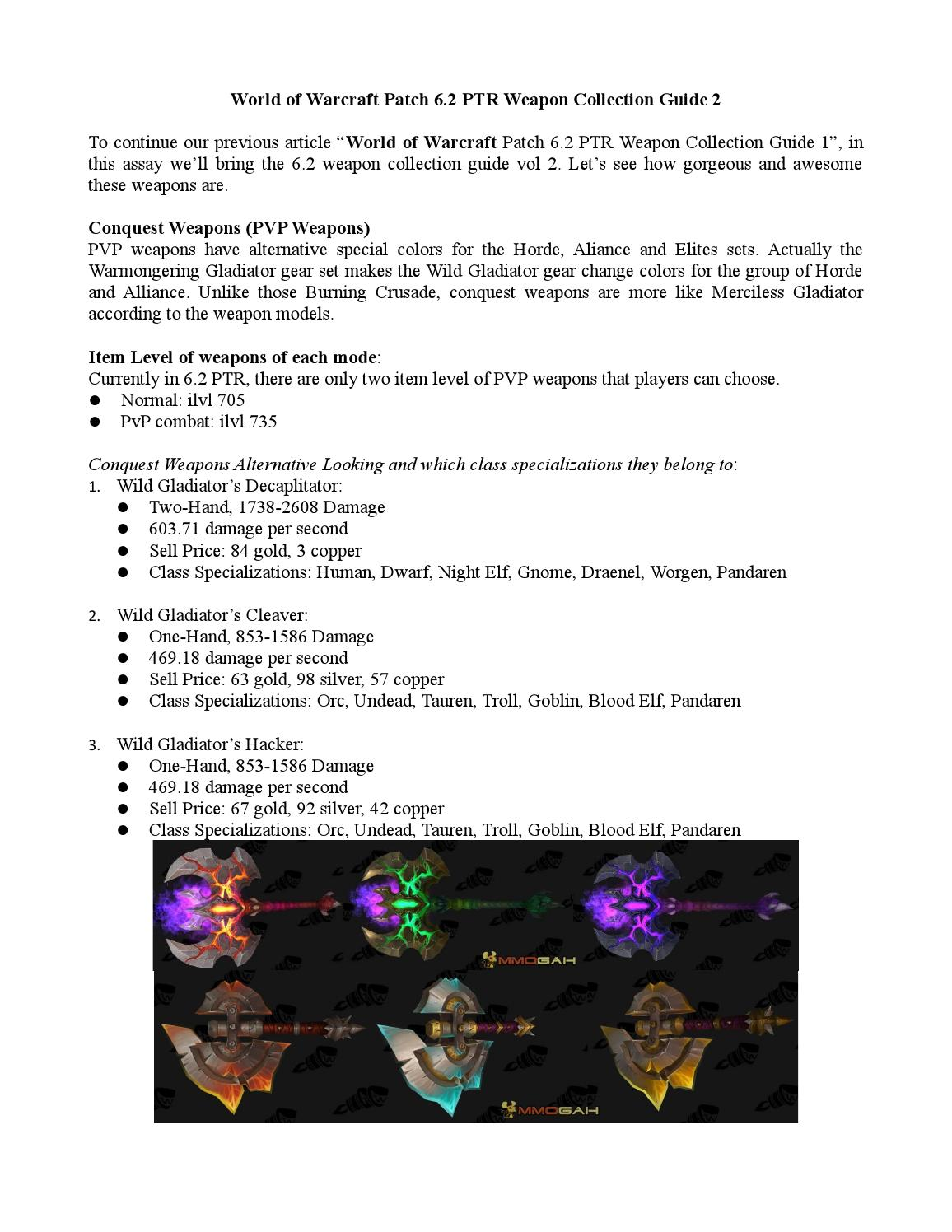 World of warcraft patch 6 2 ptr weapon collection guide 2 by
