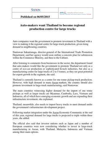 Auto Makers Want Thailand to Become Regional Production Centre for
