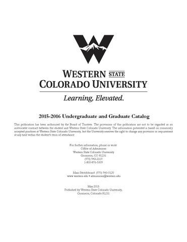 2015-16 University Catalog for Western State Colorado