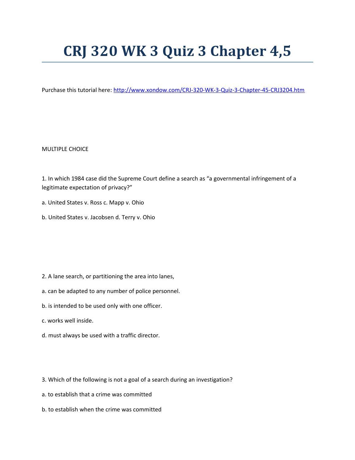 Crj 320 week 3 quiz 3 chapter 4,5 strayer university new by