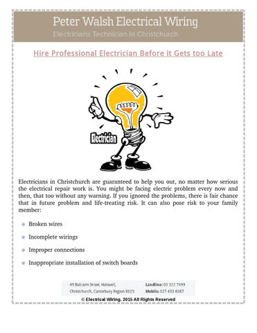 Why Hire Professional Electrician In Christchurch By Peter