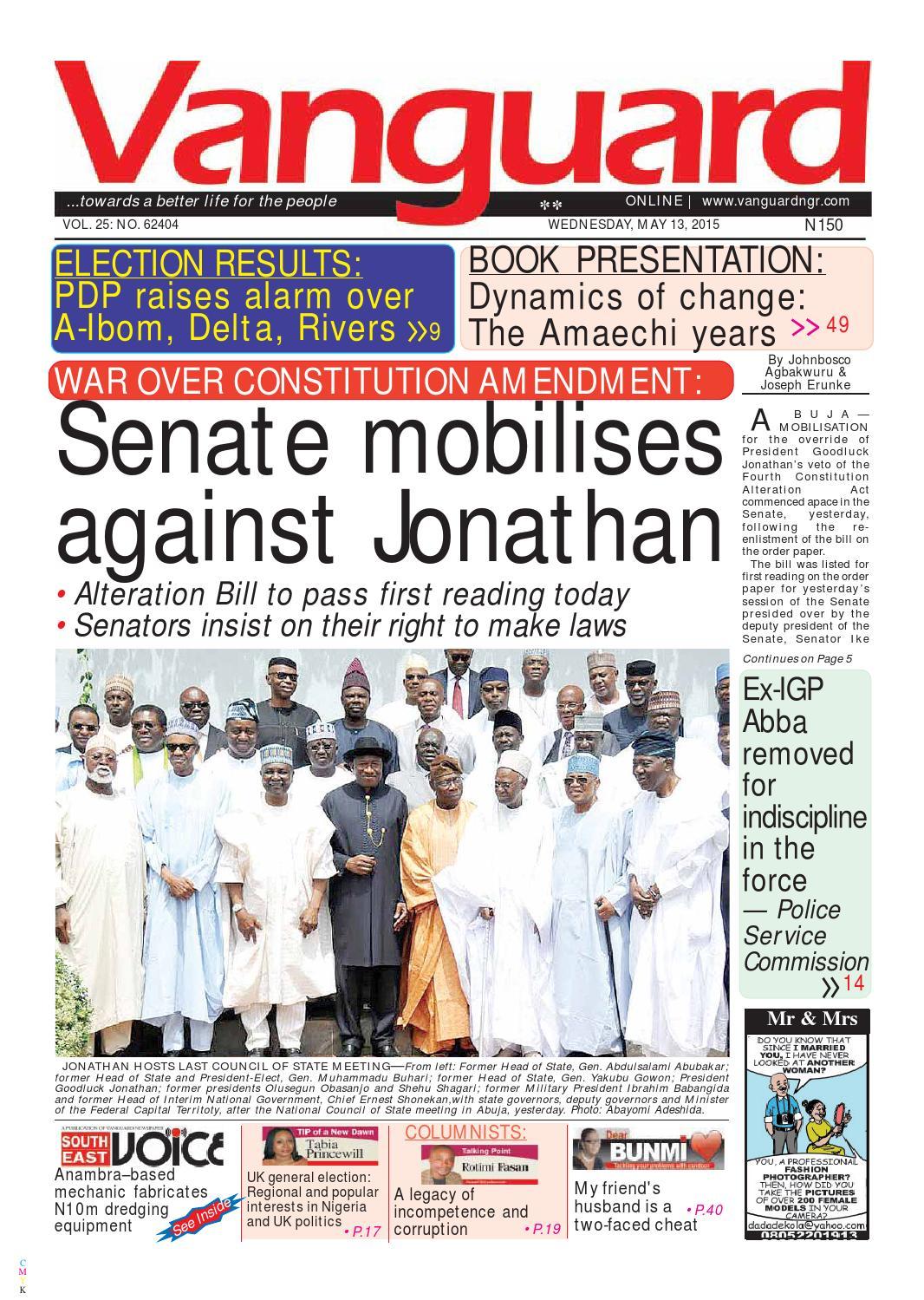 Senate mobilises against jonathan by vanguard media limited issuu malvernweather Gallery