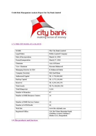 Credit risk management analysis report on city bank limited by Md
