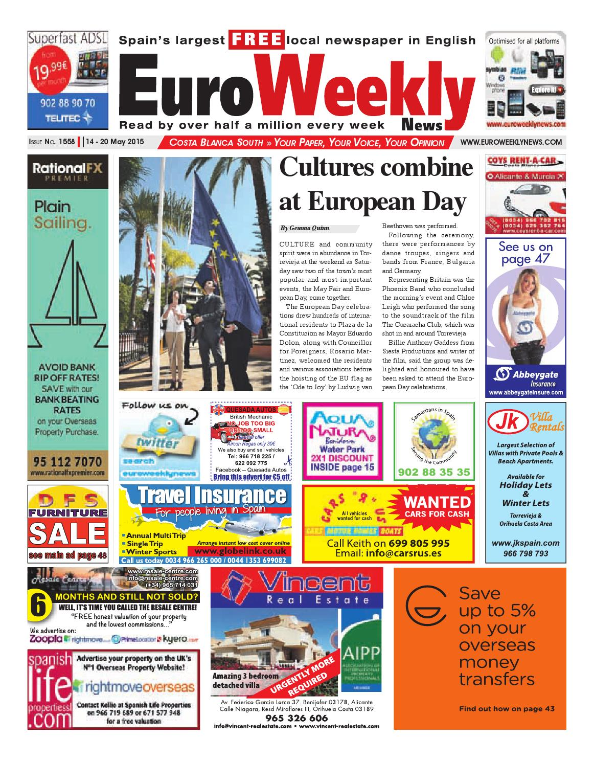 41a75c4dcf9a7 Euro Weekly News - Costa Blanca South 14 - 20 May 2015 Issue 1558 by Euro  Weekly News Media S.A. - issuu