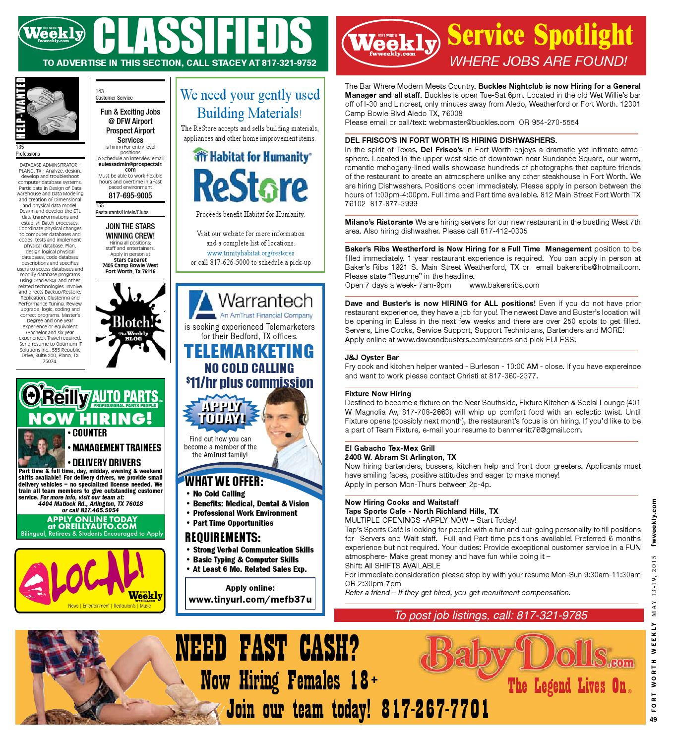 Data Warehouse Etl Developer Resume: Classifieds By Fort Worth Weekly