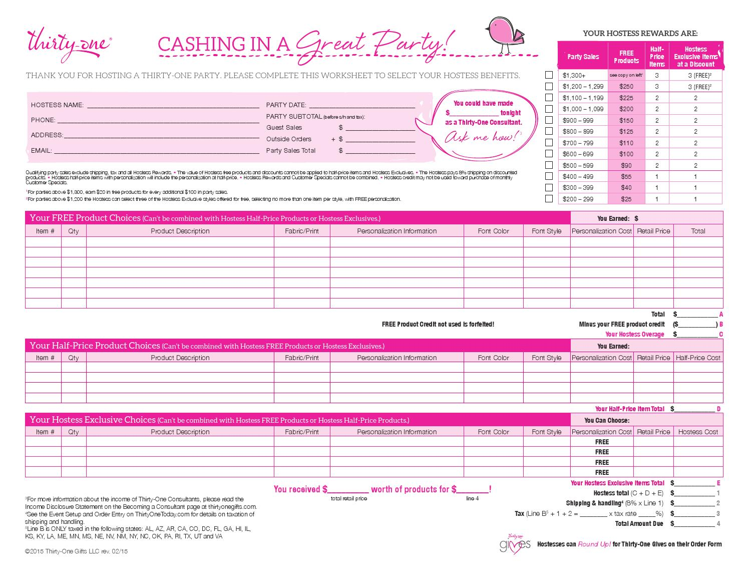 thirtyone order forms Hostess order worksheet us by Pink Ladies~31 Team Leader - issuu
