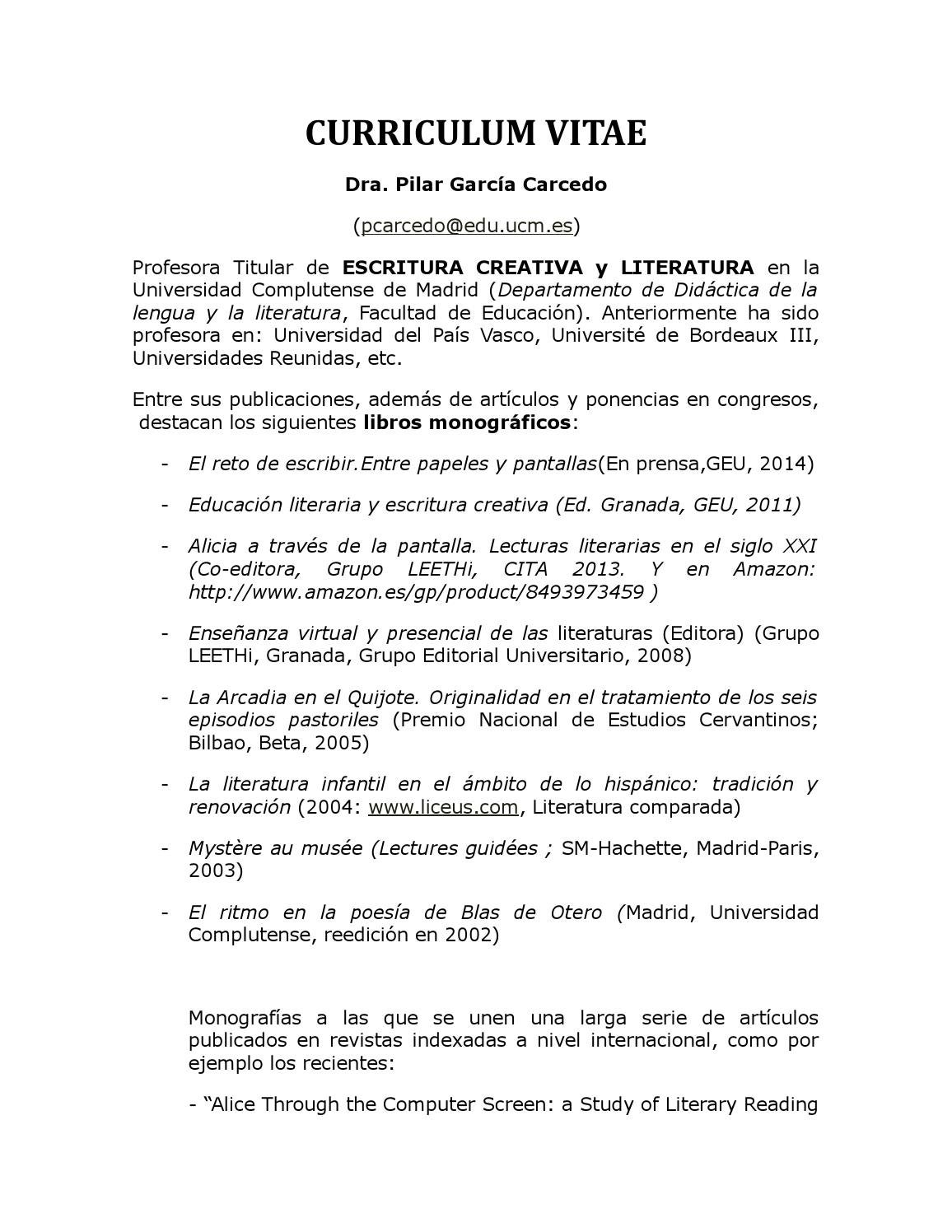 Pilar garcía carcedo cv breve 2015 by Pilar García Carcedo - issuu