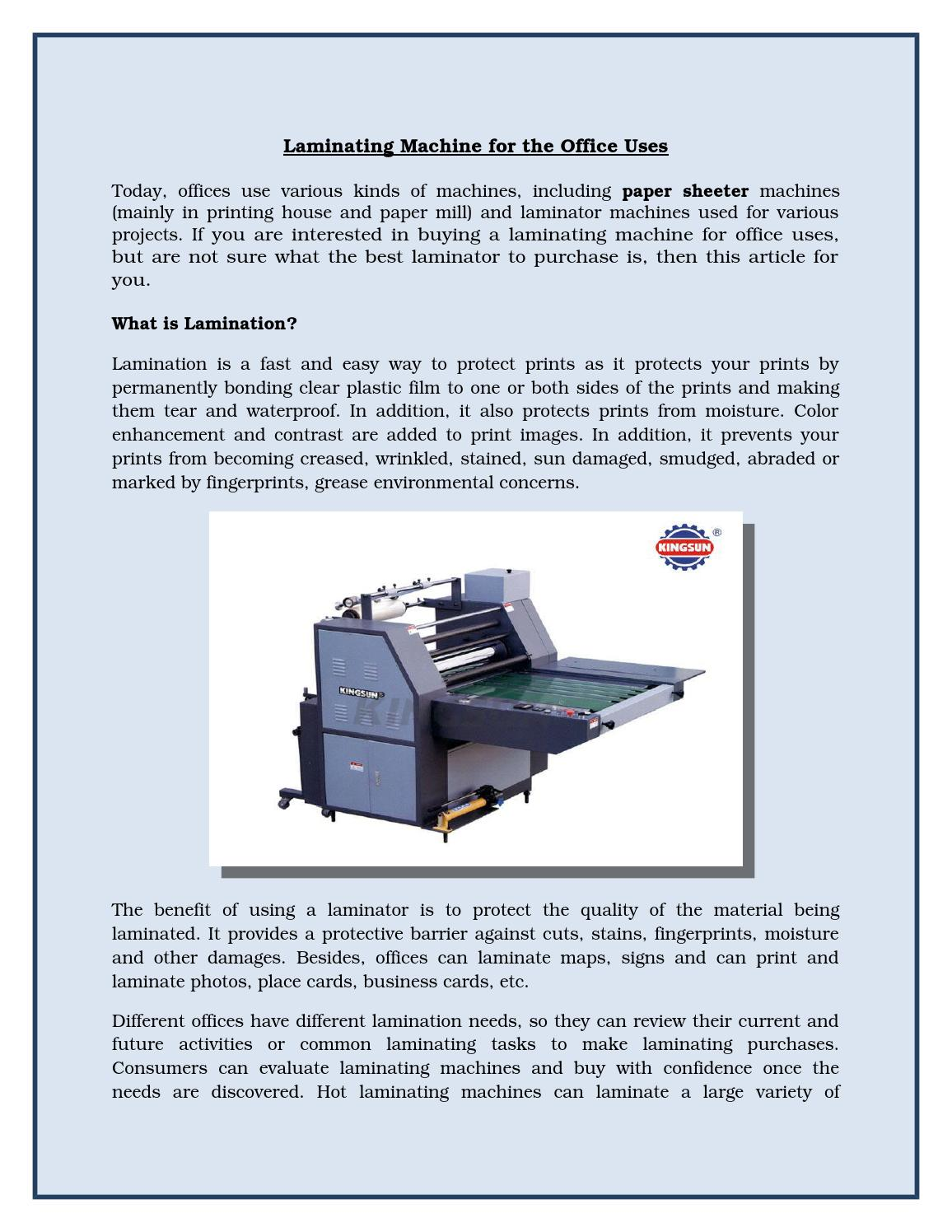 best laminating machine for office