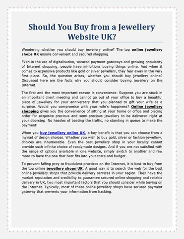 Should You Buy from a Jewellery Website UK? Wondering whether you should buy jewellery online? The top online jewellery shops UK ensure convenient and ...  sc 1 st  Issuu & Should You Buy from a Jewellery Website UK? by jewelleryuk - issuu