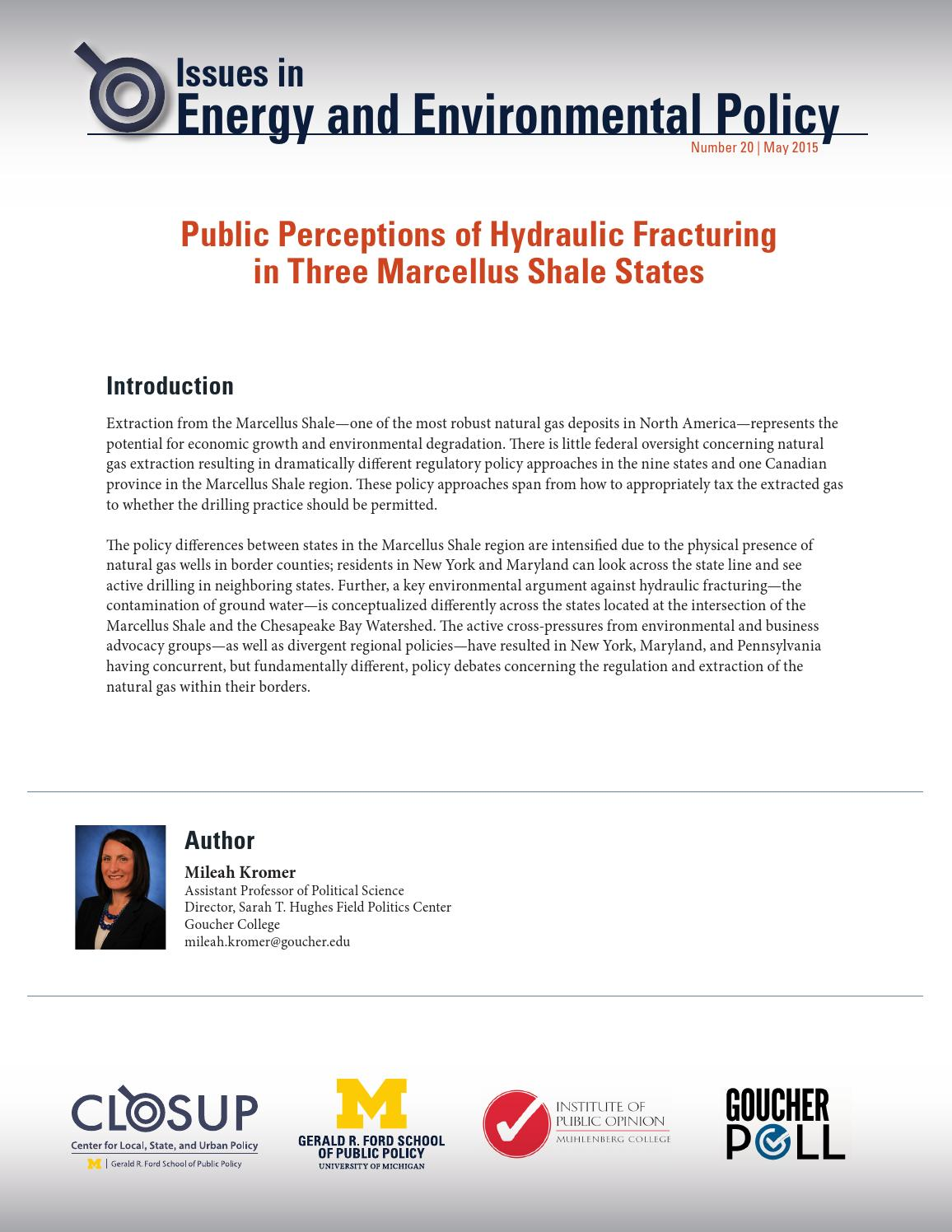 IEEP: Public Perceptions of Hydraulic Fracturing in Three Marcellus Shale  States