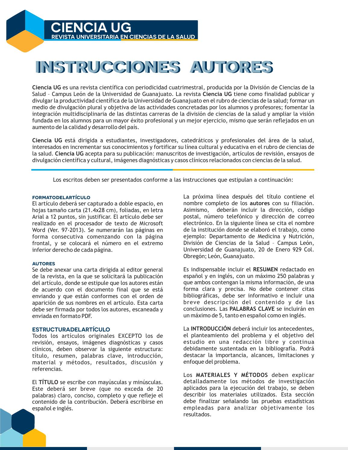 Instrucciones autores by CIENCIA UG REVISTA UNIVERSITRIA EN CIENCIAS ...