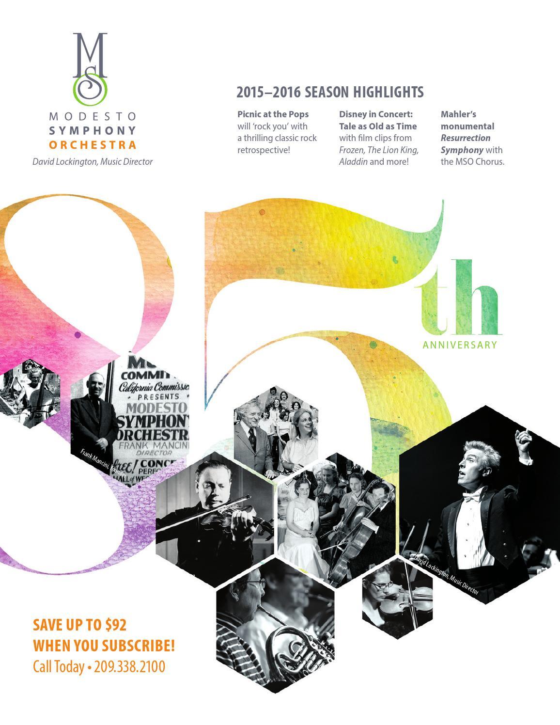 Modesto Symphony 2015 16 Season Brochure By Modesto