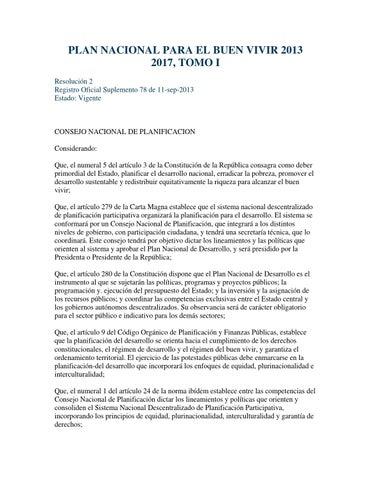 plan nacional del buen vivir 2013 al 2017 pdf resumen