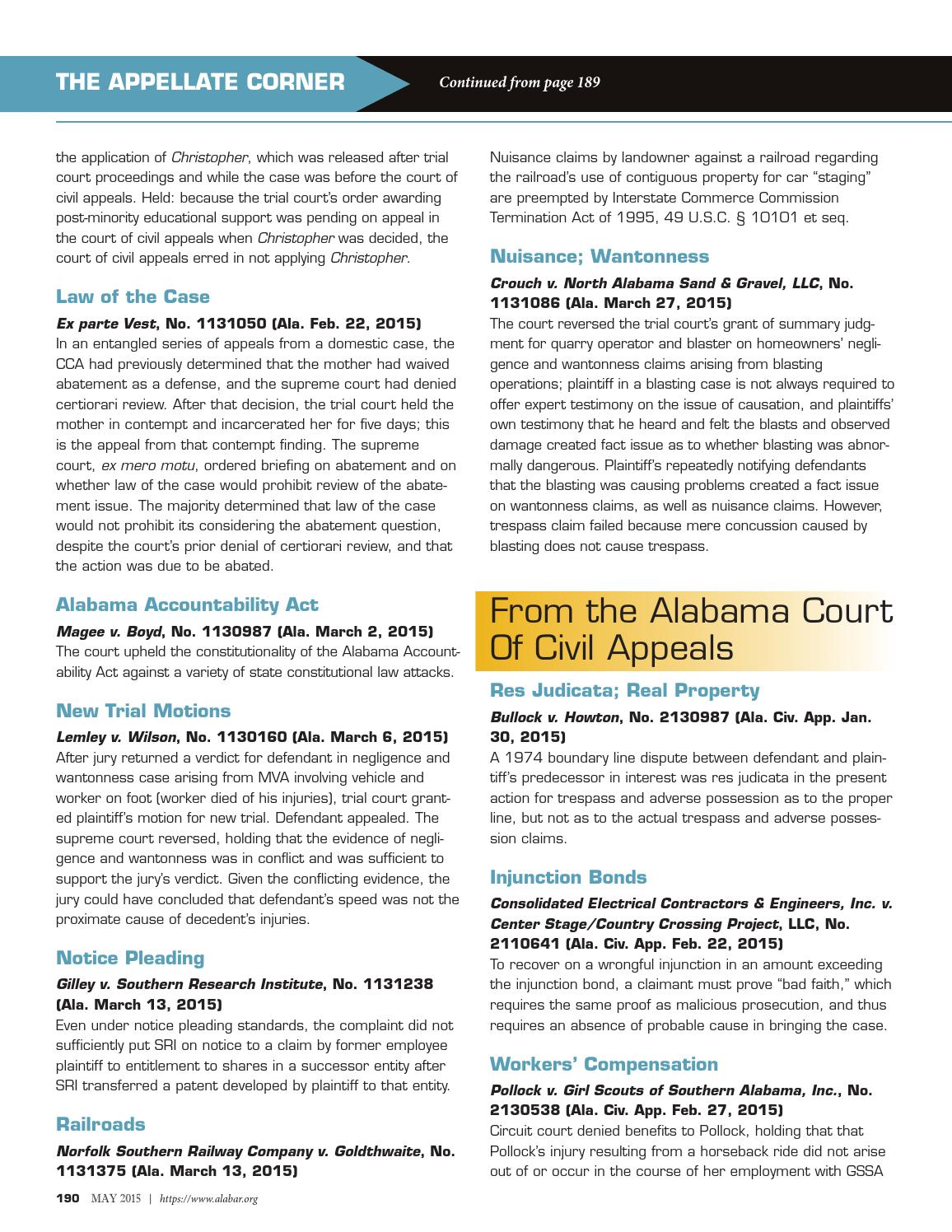 The alabama lawyer may 2015 reduced by Alabama State Bar