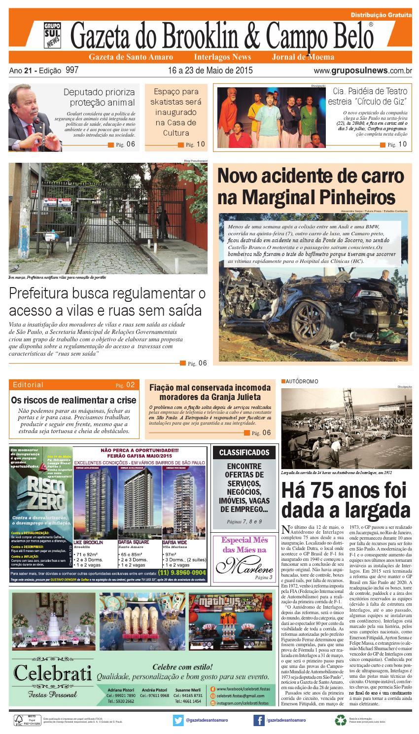 b4980f913 Edição 997 - 16 a 22 de Maio de 2015 by Grupo Sul News - issuu