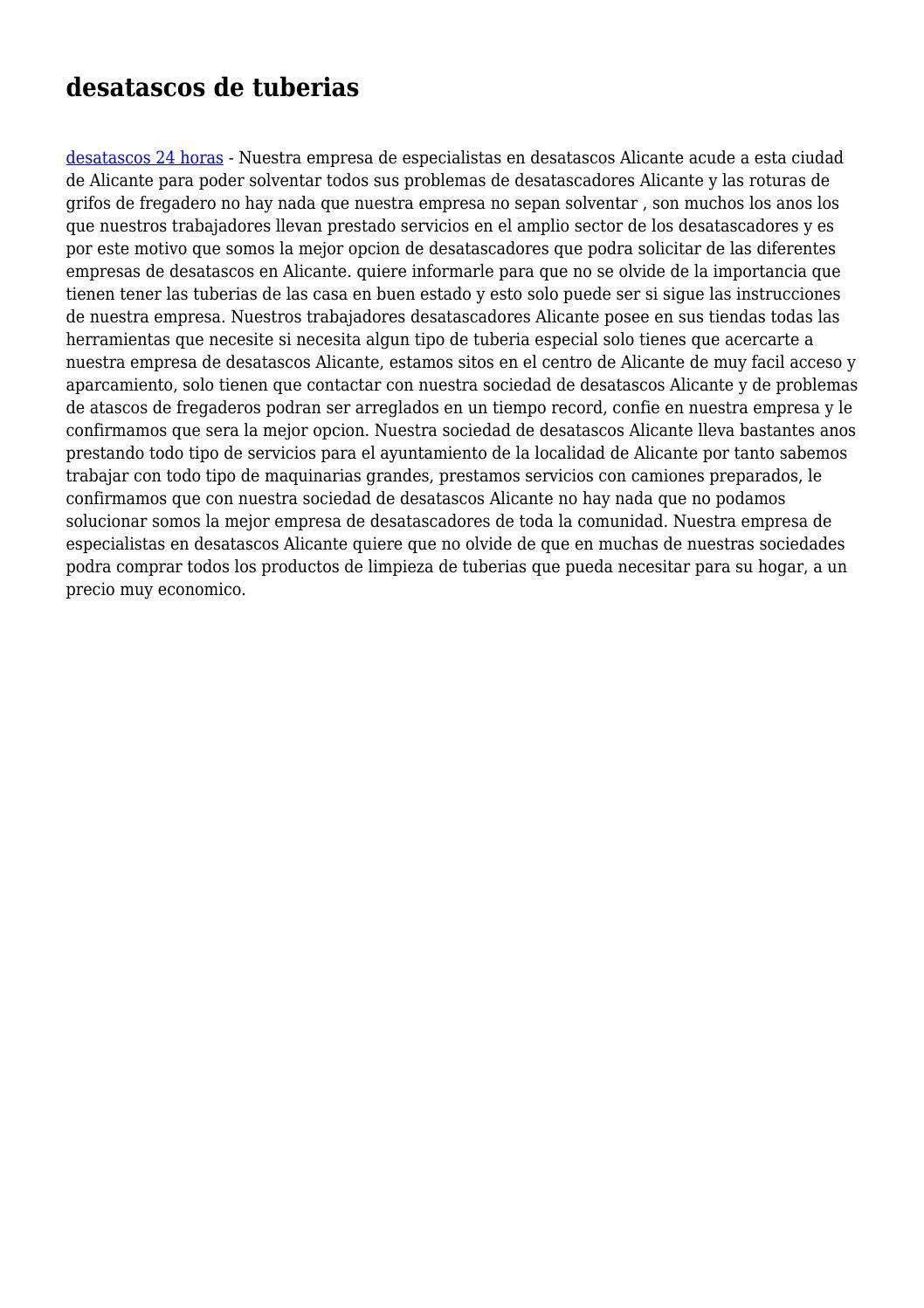 Desatascos de tuberias by dono1234 issuu - Desatascadores de tuberias ...