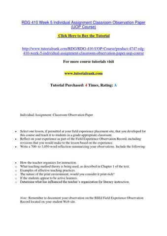 teacher observation paper